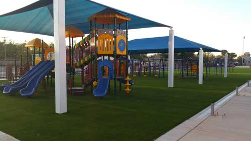 Playground with Playbase artificial grass system