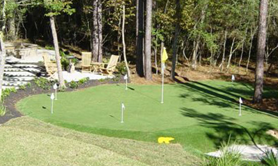Small backyard putting green in New Mexico